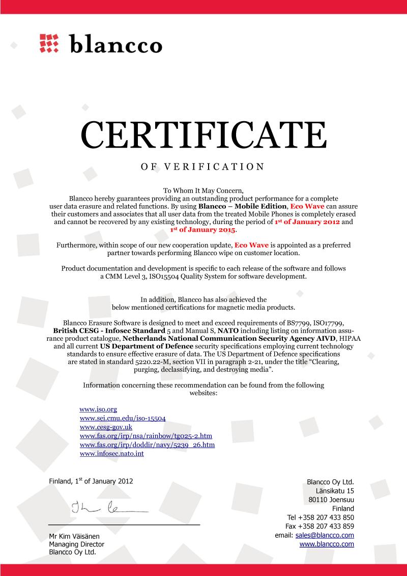 Corporate eco wave120224certificate of verification 1betcityfo Choice Image